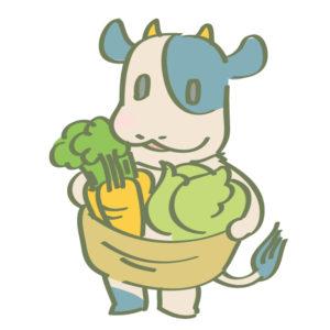 野菜を持ったキャラクターのイラスト