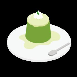 抹茶のデザートのイラスト