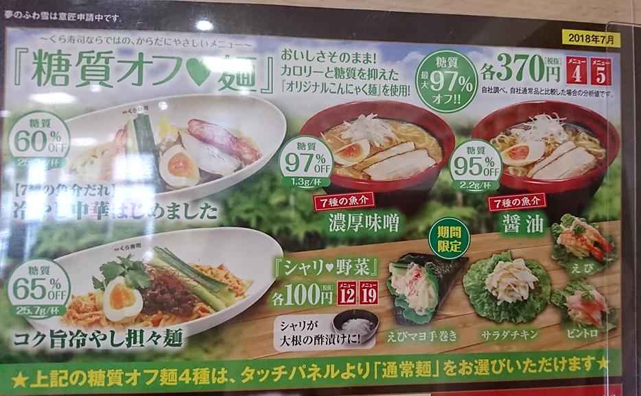 くら寿司の糖質オフメニュー