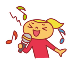 マイクを持って歌う女性のイラスト